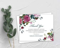 Sympathy Acknowledgement Cards, Funeral Thank You and Bereavement Notes, Personalized Floral Cards Customized Wording For Funerals Printed