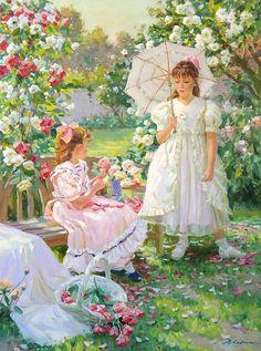 *In the rose garden...