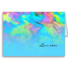 Bat Mitzvah Turquoise Tye Dye Design Greeting Cards