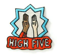 High Five Embroidered Sew or Iron-on Backing Patch Iron-on backing Embroidery thread Cotton Measures 2 tall x 2 wide Made in USA Cute Patches, Pin And Patches, Iron On Patches, Patches For Jackets, Jean Jackets, Dope Jackets, Jacket Patches, Cheap Patches, Alluka Zoldyck