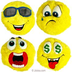 PLUSH FURRY EMOJIS. With embroidered and appliqué features, these crazy stuffed emoji toys will delight any stuffed animal collector. Assorted styles.  Size 10.5 Inches