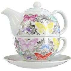 lovely butterfly tea pot and cup