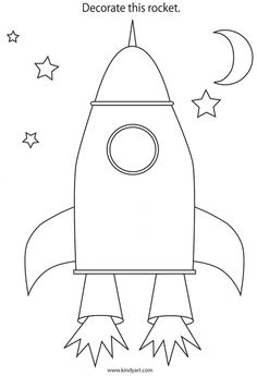 Decorate The Rocket Colouring Page