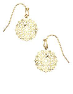 Filigree Flower Short Drop Earrings   Gold   Accessorize