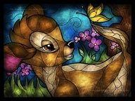 Faux stained Disney glass of Bambi Deco Disney, Bambi Disney, Art Disney, Disney And Dreamworks, Disney Magic, Bambi 3, Bambi 1942, Disney Collage, Disney Stuff