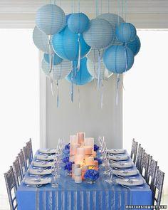 Decoración en azul para cumpleaños