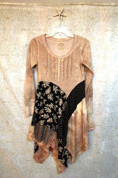 REVIVAL Women's Upcycled Boho Shirt / Top Shabby Chic от REVIVAL