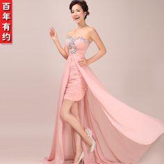 2013 fashion dress Bra pink chiffon dress in Europe and America