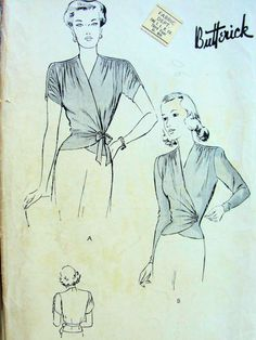 1940s  FEMININE SURPLICE BLOUSE PATTERN BEAUTIFUL DRAPED SLEEVES or SIMPLE, SIDE TIE, PERFECT UNDER A SUIT BUTTERICK PATTERNS 2139