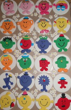 Sneak preview of the Mr Men cupcake toppers for my sister's birthday order later this week (she ordered for her colleagues).   Have 5 other cakes for later in the week...and I thought it would be a quiet one!