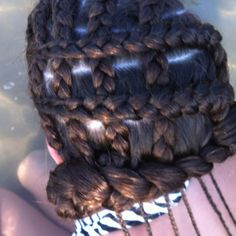 Side view- corn row weave