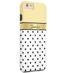 Custom Name Lemon Yellow, White & Black Polka Dots Tough iPhone 6 Plus Case