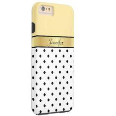 Custom Name Lemon Yellow, White & Black Polka Dots Tough iPhone 6 Plus Case