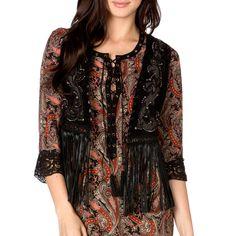 Miss Me Women's Embroidered Lace Fringe Vest