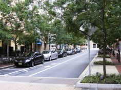 Trees and bioswales on pedestrian-friendly Gibbs Street, Rockville, MD. Click image for full profile and visit the slowottawa.ca boards >> https://www.pinterest.com/slowottawa/boards/