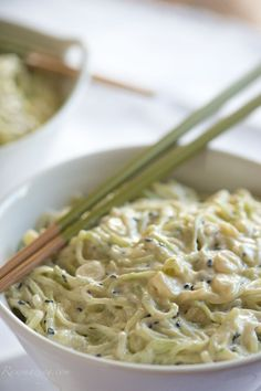 Cucumber Noodles with Coconut Lime Cumin Dressing - Raw, Vegan