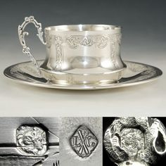 Antique French Sterling Silver Coffee or Tea Cup & Saucer Set by Louis Coignet, Ornate Engraved Foliage Tea Cup Set, Cup And Saucer Set, Tea Cup Saucer, Vintage Silver, Antique Silver, 925 Silver, Silver Lamp, Silver Table, Grandeur Nature