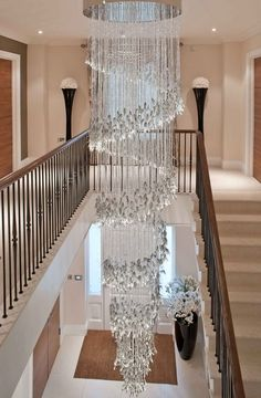 Chandelier Spiral Light Grey Glass Leaves in 2020 Foyer Chandelier, Luxury Chandelier, Chandelier Lighting, Iron Chandeliers, Interior Lighting, Luxury Interior, Modern Interior, Modern Luxury, Interior Design