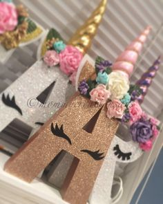 This listing is for only Unicorn Letters that include the padded horn & floral headband. Please include color of glitter, and horn youd like for your letters in the note to seller box at check out. Party Unicorn, Unicorn Themed Birthday Party, Unicorn Baby Shower, Birthday Box, Birthday Party Decorations, First Birthday Parties, First Birthdays, Birthday Ideas, Party Favors