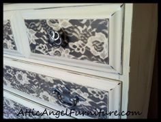 Spray Painted Lace Chest - Attic Angel