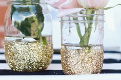 These DIY glitter mason jars are a must-have at your next party.