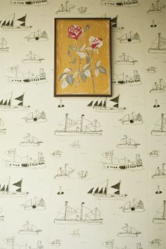 Frame a section of this wallpaper for bathroom nautical print!