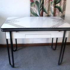 Vintage Black And White Porcelain Top Table by LOOKINGforYESTERDAY, $125.00