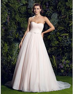 Lanting Bride® A-line Petite / Plus Sizes Wedding Dress Wedding Dresses in Color Court Train Sweetheart Tulle with 1611808 2016 – $129.99