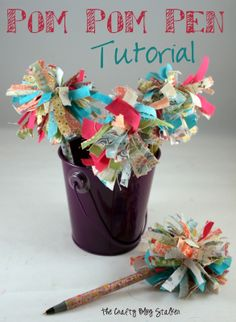 Pom Pom Pen Tutorial www.thecraftyblogstalker.com Great Teacher Gifts too!