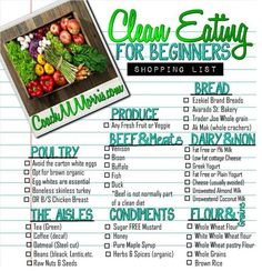 Eat clean tips for beginners... Great one pager for anyone looking to start changing their buying habits