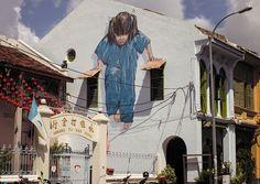 """""""Girl"""" creative interactive street art in Georgetown, Malaysia"""