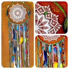 DIY dream catcher. i've been making these since i was little, but i love the look of lace and scraps as opposed to the clean cut leather and neat feathers i've used my whole life.