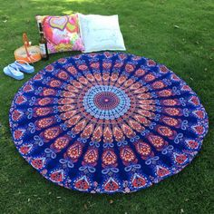 Just US$7.83 + free shipping, buy Deep blue Mandala Feather Totem Chiffon Round Beach Throw online shopping at GearBest.com.