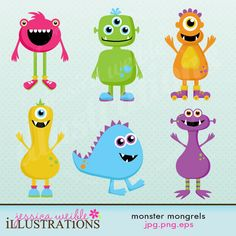 Monster Mongrels Cute Digital Clipart for Card Design, Scrapbooking, and Web…