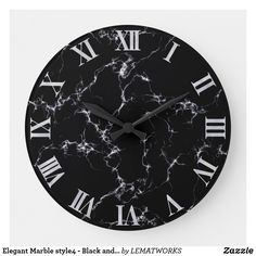 Elegant Marble style4 - Black and White Large Clock