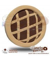 Cuscino Biscotto - Crostatina - Fondo Marrone (Fatto a mano)