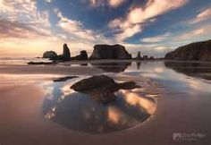 Sunset Clouds reflecting in a tide pool~ Bandon Beach, Oregon USA  www.chipphillipsphotography...