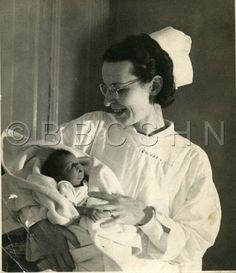 Chestnut Hill Hospital School of Nursing - Nurse with newborn circa 1920. Image courtesy of the Barbara Bates Center for the Study of the History of Nursing.