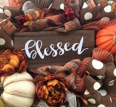 Fall Wreath, Fall Decor, Autumn Wreath, Autumn Decor, Halloween Wreath, Burlap Wreath, Scarecrow Wreath, Scarecrow Decor, Pumpkin Wreath, Pumpkin Decor  Blessed! WOW~ what an Autumn Beauty! A rustic mix of burgundy, burnt orange, burlap and brown makes such an inviting statement for Fall! Made on a wired frame and filled with a gorgeous assortment of burlaps, rustic orange/brown/cream white mesh ruffles, brown polka dot ribbons, Fall florals, rustic pumpkins, greenery & berry sp...