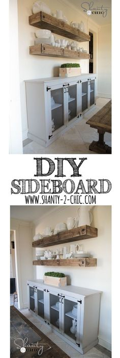 LOVE this DIY Farmhouse Sideboard! Free plans and tutorial by…