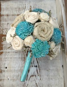 Aqua Teal Sola Wood Alternative Wedding Bouquet - Mixed Ivory Wood Flowers, Fabric Rosettes, Winter White Wildflowers, Burlap, Cream. this with your brooches pinned in it