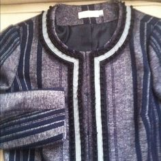 Tory Burch Wool Jacket. TB Wool Jacket in Navy. Great details along edges.  Jacket hits just below waist. Great with Jeans or for work.  Especially Casual Friday. Wear jeans and  still  look professional. Priced to sell!!  Make me an offer. Never been worn.  NWOT Tory Burch Jackets & Coats