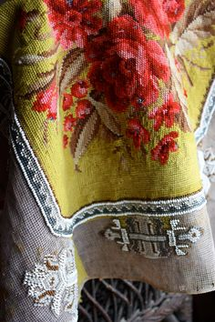 Vintage European Needlepoint Tapestry Mid-Late - one corner of canvas has been notched out Dimensions: x Textiles, Passementerie, Textile Art, Needlepoint, Needlework, Weaving, Cross Stitch, Antiques, Handmade