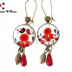 """Boucles d'oreilles """" oiseaux amoureux """" cabochon rouge coquelicot bijou fantaisie"""