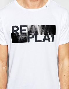 Image 3 ofReplay T-Shirt Crew Neck Logo Block Print in White