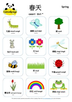 Bilingual (English-Chinese) Spring-themed poster with Cantonese pronunciation. Check out www.cantonsponge.com for more Cantonese language learning ideas and materials.