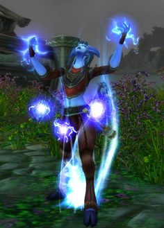 World of Warcraft - Draenei shaman - Ravenstill - summoning lightning. From http://www.writeups.org/world-warcraft-shaman-draenei-ravenstill/