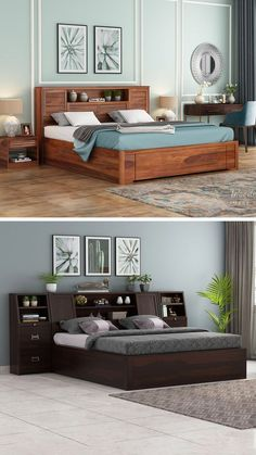 Wooden king size beds are no less than a throne of comfort which every person loves to reach after a long day. Its enormous size and additional features have always made it the most loved furniture unit in the house. Wooden Street has come ahead with instigating a wide range of solid wood king size beds online available with premium quality, stunning designs and lots of serviceability added Buy King Size Bed, Wooden King Size Bed, Bedroom Bed Design, Bedroom Designs, Bedroom Furniture Online, Wooden Bedroom, Beds Online, Stand Design, Bed Storage