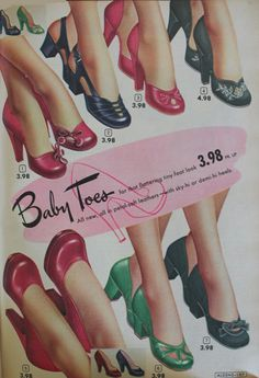 """1950s bay doll heel shoes by Aldens called """"Baby Toes"""""""