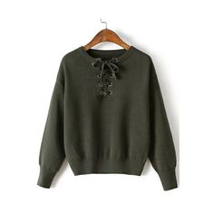 SheIn(sheinside) Army Green Eyelet Lace Up Drop Shoulder Sweater ($24) ❤ liked on Polyvore featuring tops, sweaters, green, round neck sweater, loose pullover sweater, green pullover sweater, sweater pullover and olive green top